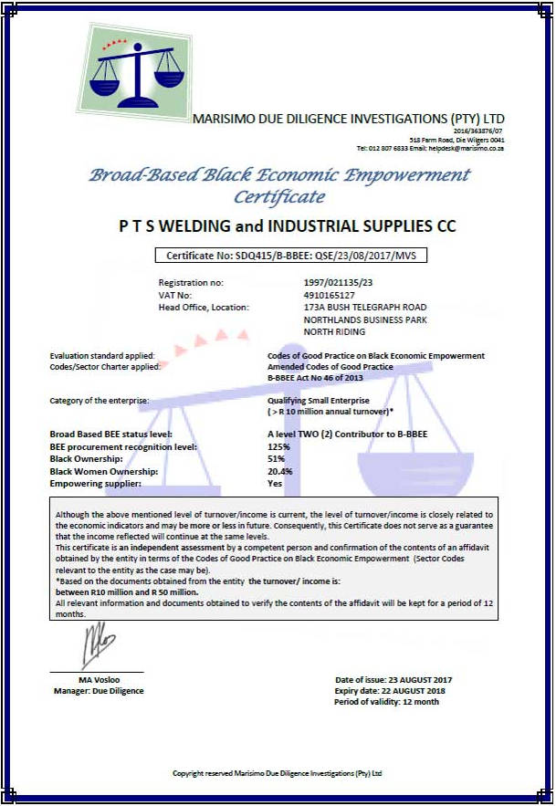 Certificates - PTS Welding
